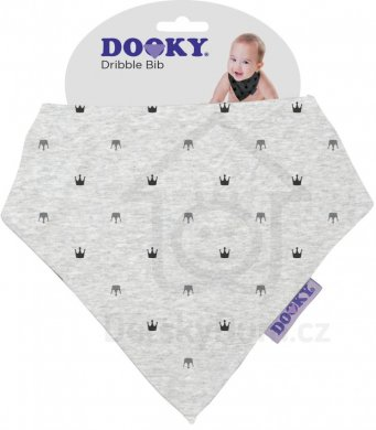 Dooky Dribble Bib bryndáček - Light Grey Crowns