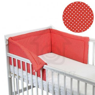 BabyRenka límec do postýlky 180 cm Basic - Dots red