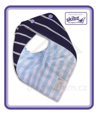 Skibz tkaná bavlna Doublez - French stripe/pale blue gingham
